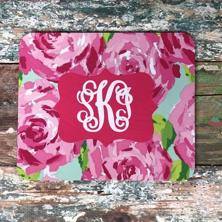 Floral Monogrammed Mouse Pad