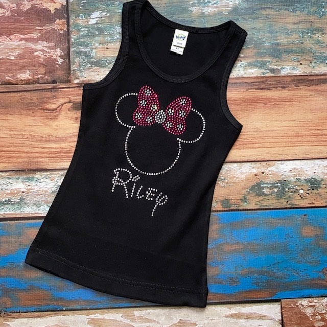 Minnie inspired Personalized Rhinestone Tank or Shirt-Hot Pink Bow