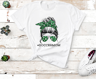 Messy Bun Soccer Mom Life-Green